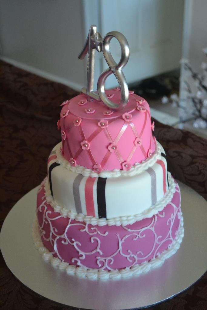 Michelles 3 Tier 18th Birthday Cake Crafty Cat Mackay Qld